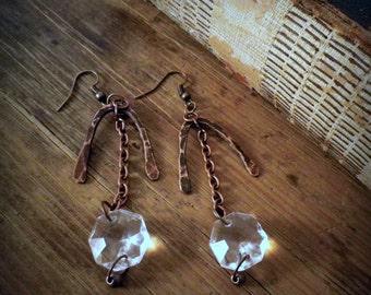 Chandelier crystal/ copper dangle earrings, recycled upcycled repurposed vintage jewelry,rustic organic eco friendly bohemian earrings
