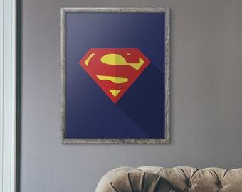 Superman Man of Steel Minimalist Fan Art Digital Print