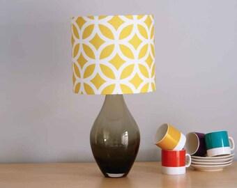 Geometric Yellow, 20cm diameter Drum Lampshade