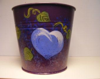 Blue heart tin planter