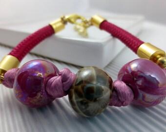 Ceramics bracelet pink and Fuchsia