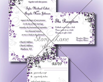 "Wedding Invitation/RSVP/Reception Card ""Elegant Garden"""