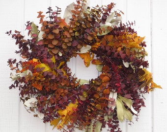 Fall Wreath, Fall Dried Wreath, Fall Eucalytpus Wreath,  Eucalyptus Wreath, Dried Flower Wreath, Dried Floral Wreath, Dried Fall Wreath