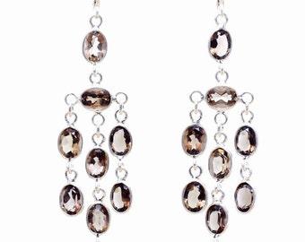 Smoky Topaz Handmade Silver Earrings