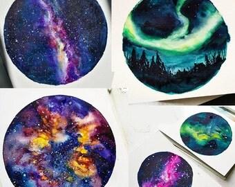 ORIGINAL Tiny Nebula/Milky Way/Aurora/Universe Painting