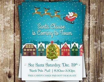 Christmas Flyer, Christmas Invite, Christmas Party Flyer, Santa Claus Flyer, Santa Claus is coming to town, Christmas, custom flyers