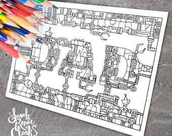 """Dad: Mechanical coloring page - Printable 8.5x11"""" mechanical coloring page for Father's Day - robot steampunk sci fi instant download"""
