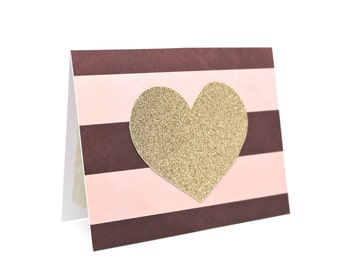 Rose Gold Card - Paper Handmade - Gold Heart Card - Rose Gold Stationary - Blank Note Card - Glitter Heart Card - Mini Note Card