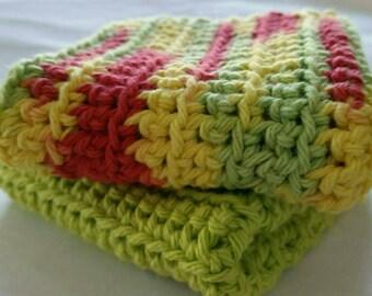 Crochet Washcloth Dishcloth Cotton Green Yellow Red