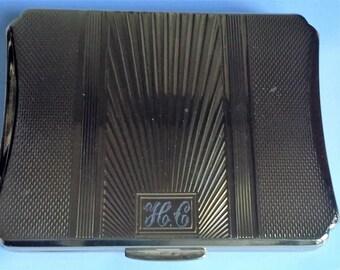 Vintage Kigu Oblong Powder Compact Initials HC