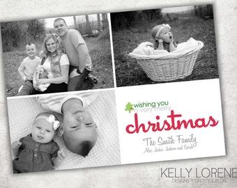 Printable Photo Christmas Card - Wishing You A Very Merry Christmas  - Digital File
