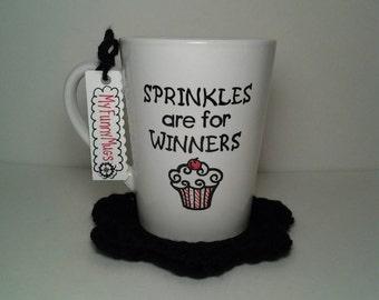 Sprinkles Are For Winners Mug - Flo from Progressive - Funny Mug - Insult Mug - Inpirational Mug - Stoneware Mug - Hand Painted Customizable