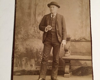 Cabinet Card of a Young Man Having a Smoke, 19th Century Antique Photograph