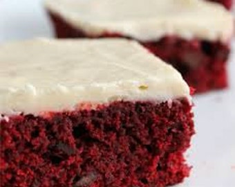 Red Velvet Brownies with White Frosting