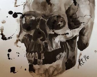 Original ink and brush Skull