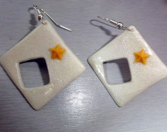 white square earrings glitter and gold embossed star