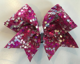 reversible hot pink/silver sequins cheer bow