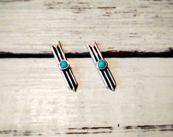 Sterling silver arrow earrings with turquoise