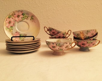 1969 Tirschenreuth China Germany Set of 7 Teacups and 7 Saucers
