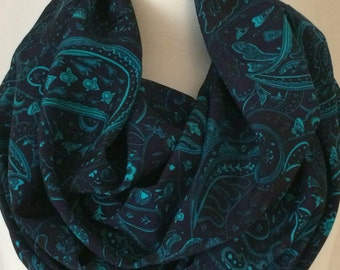 Paisley Navy Turquoise Infinity Scarf Gift for Her Scarf Scarves Christmas Fall Winter Tube
