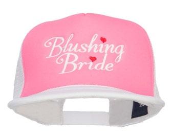 Blushing Bride Embroidered Neon Foam Trucker Cap