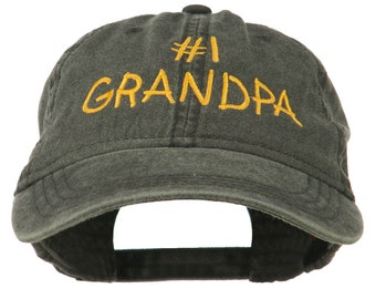 Number 1 Grandpa Embroidered Washed Cotton Cap