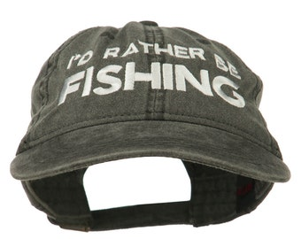 I'd Rather Be Fishing Embroidered Washed Cotton Cap