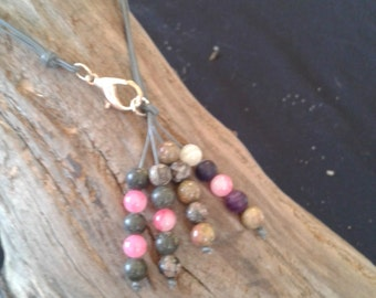 gemstone beads and leather necklace