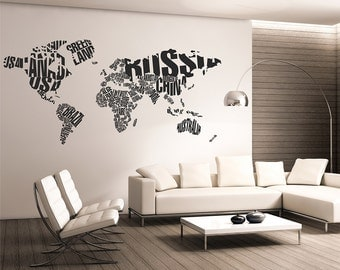 Map of the world Wall Decal,World map typography,Wall Map Decal, Word World Map Wall Decal,Letters world map wall decal,Large Wall Map 014