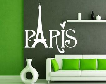 Paris wall decal,  Eiffel Tower wall decal, I Love Paris wall decal, Paris wall art, Home decor, Paris wall vinyl, Paris word wall decal 114