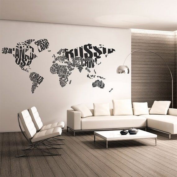 Map of the world wall decalworld map typographywall map like this item gumiabroncs Images