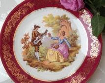Beautiful Limoges Fragonard Vintage Plate, Depicting Courting Couple