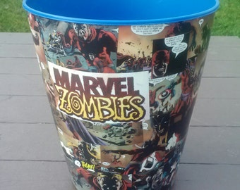 Marvel Zombies Decoupage Wastebasket Comics Trash Can Avengers Spider-Man X-Men