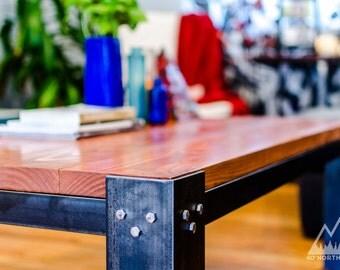 Modern Rustic Wood & Steel Coffee Table