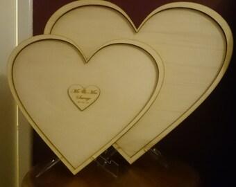 Personalised wood wooden heart guest book dropbox - wedding, birthday etc