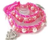 Wrap Bracelet, Fashion Beaded Bracelet, Butterfly Charms, Pearl Beaded Bracelet, Pink Suede Jewelry, Tennage Jewelry