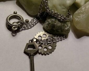 Long, silver, Key & Gear, Steampunk, necklace!