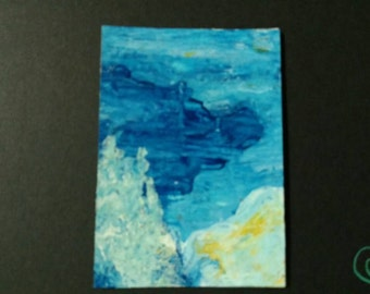 Pure Ice Lesson - abstract acrylic ATC ACEO