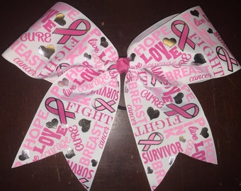 Breast Cancer Awarness Word bow