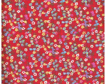 Fat Quarter, RD2765FQ,  100% Cotton Fabric,  Teal, White and Pink Micro Flowers on Red