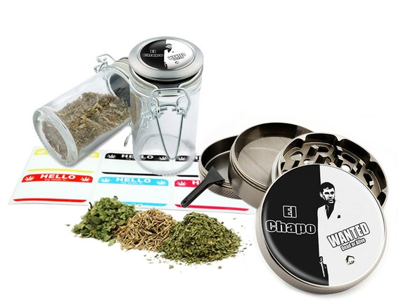 "El Chapo - 2.5"" Zinc Alloy Grinder & 75ml Locking Top Glass Jar Combo Gift Set Item # 50G011516-4"