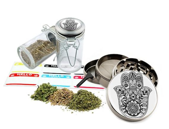 "Hamsa - 2.5"" Zinc Alloy Grinder & 75ml Locking Top Glass Jar Combo Gift Set Item # G123114-0015"
