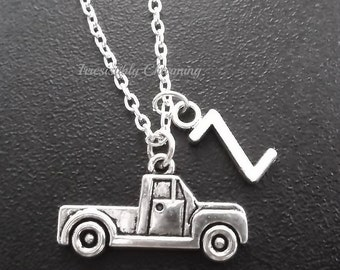 Silver plated pickup truck necklace, monogram personalized custom gifts under 10 item No.760