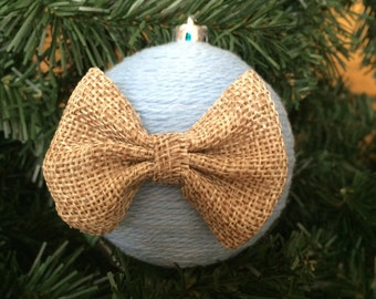 Bow-eutiful: Large Yarn Wrapped Christmas Ornament