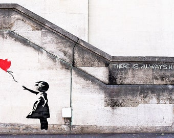 Banksy Canvas - There is ALWAYS HOPE (UV coating, Wooden Frames, Ready-to-hang)