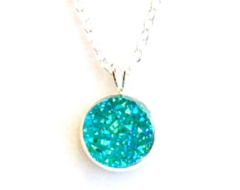 Turquoise Silver Plated Druzy Chain Necklace - 12 mm faux druzy - Bridesmaid gift Canada - turquoise jewelry - Bridesmaid gift idea Canada