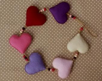 Handmade Felt Hanging Heart Garland - Purple/Pink