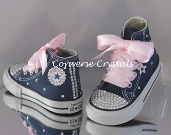 Infant Girls Custom Crystal *Bling* Hi Top Converse Sizes 2-10 Various Option Available