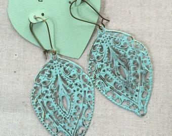 Distressed filigree leaf earrings