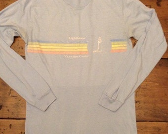 80s Lighthouse Vacation Center Long Sleeved T-Shirt (A444)